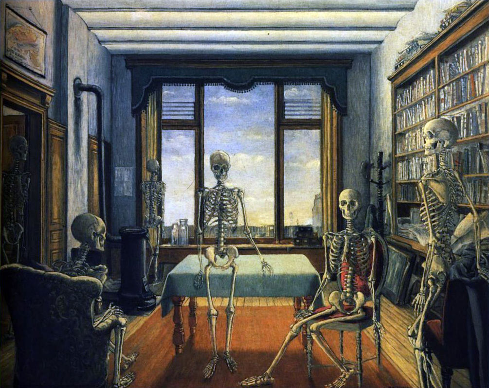 Delvaux - Skeletons in the office - 1944