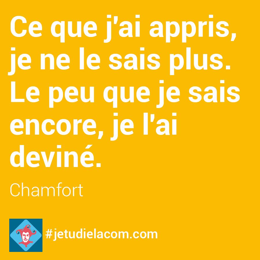 Le peu que je sait - Chamfort