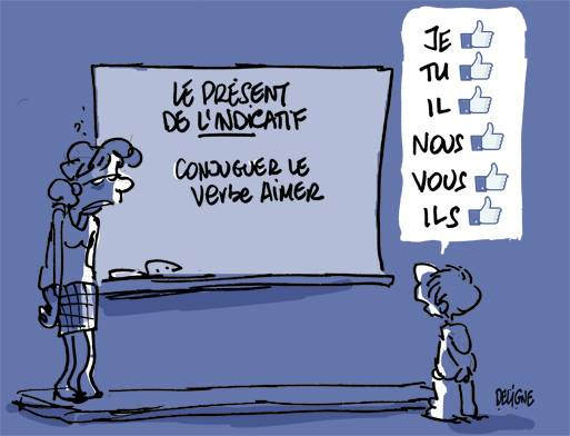 Facebook verbe liker - Humour Deligne